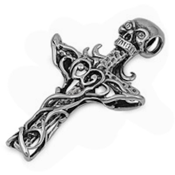 Stainless Steel Skull on Cross Pendant
