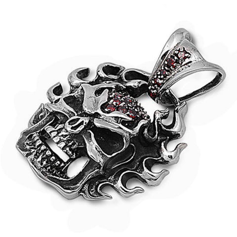 Stainless Steel Skull with Garnet Gemstone Pendant
