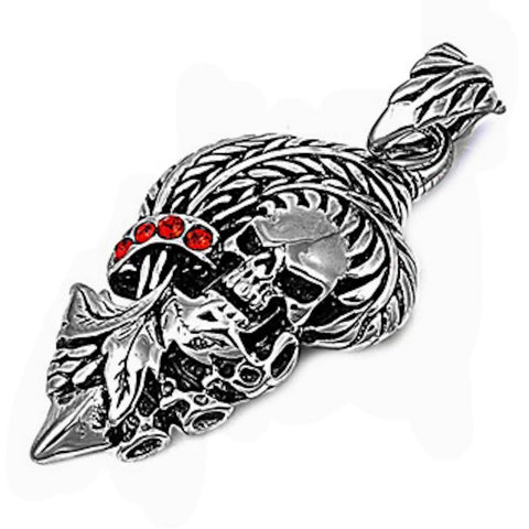 Stainless Steel Skull with Red Crystal Embellishment Pendant