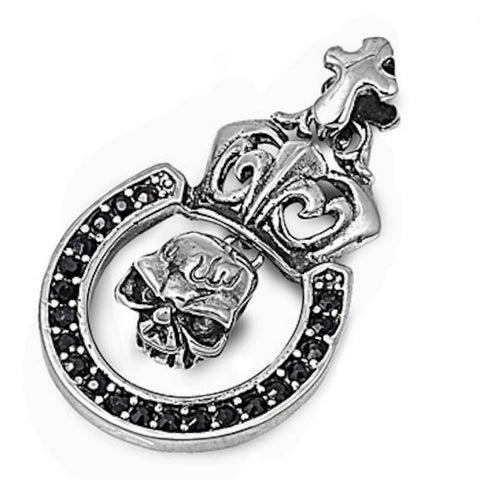 Stainless Steel Skull with Black CZ Pendant