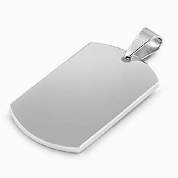 Stainless Steel Solid Dog Tag Pendant