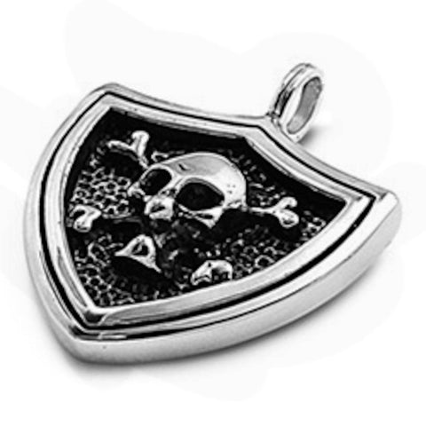 Stainless Steel Skull Badge Pendant