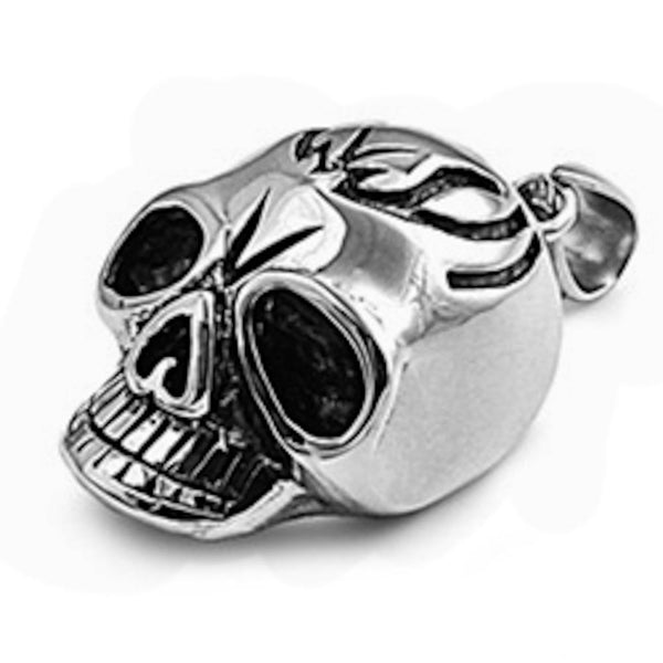 Stainless Steel Skull with Engraving Pendant