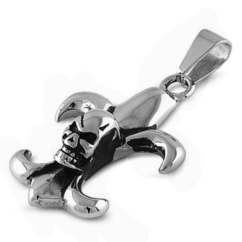 Stainless Steel Skull on Royal Sign Pendant