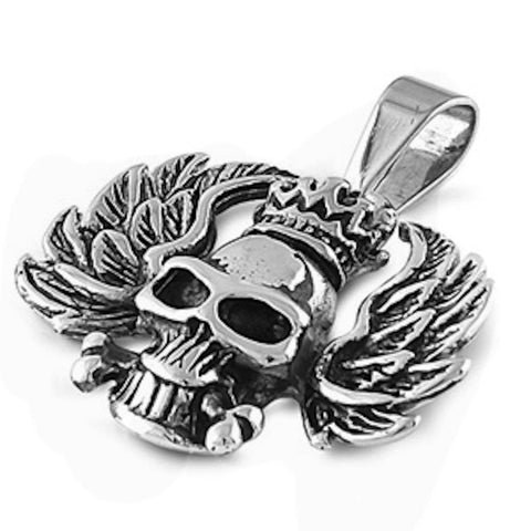Stainless Steel Skull with Feathers Pendant