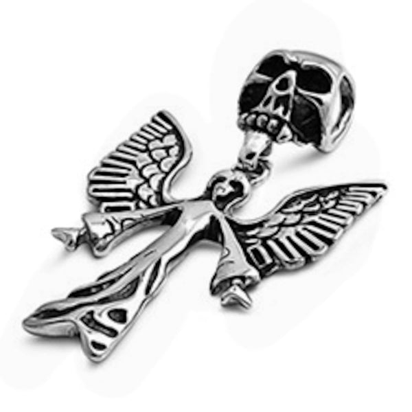 Stainless Steel Skull Angel with Wings Pendant