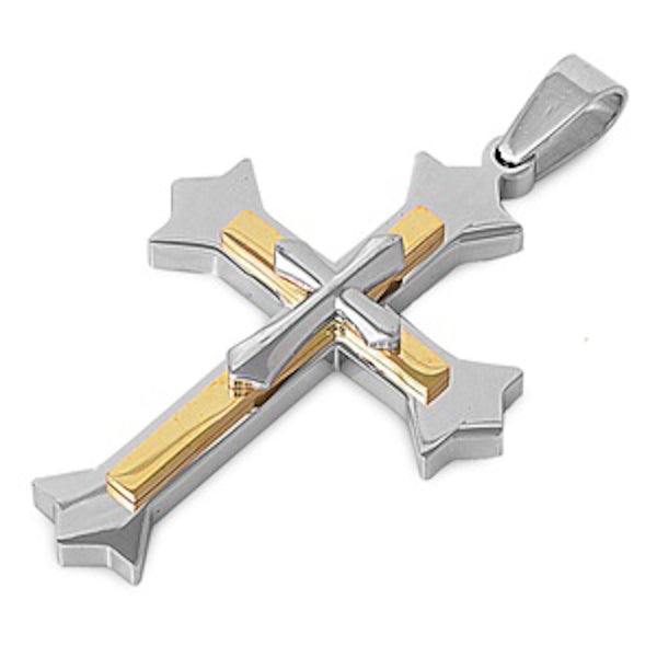 Stainless Steel Yellow Plated Cross Pendant