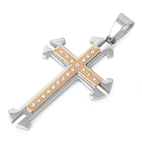 Stainless Steel Yellow Plated Narrow Cross Pendant
