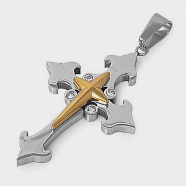 Stainless Steel Yellow Plated Divine Cross Pendant