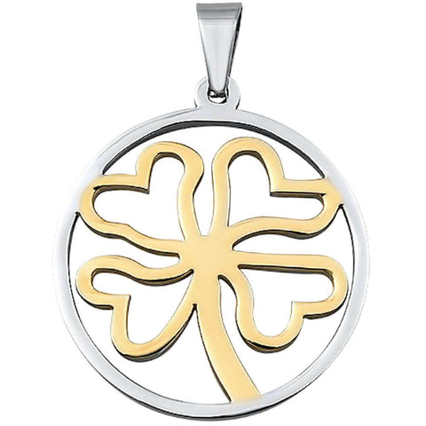 Two Tone 4 Clover Leaf  Stainless Steel Pendant