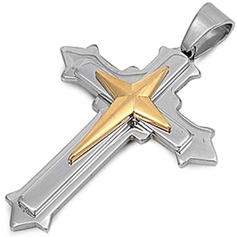 Two Tone New Style Cross Stainless Steel Pendant