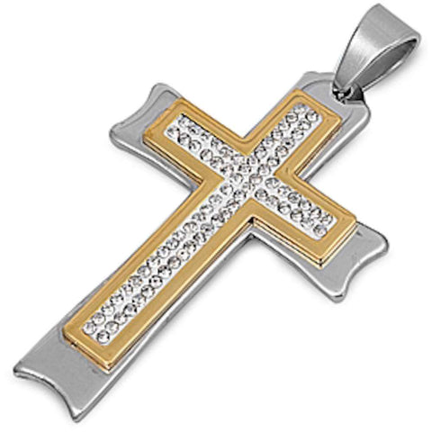 Two Tone Cz Cross  Stainless Steel Pendant