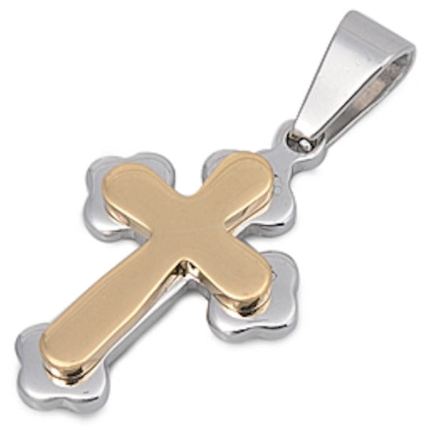 Two Tone Cross Stainless Steel Pendant