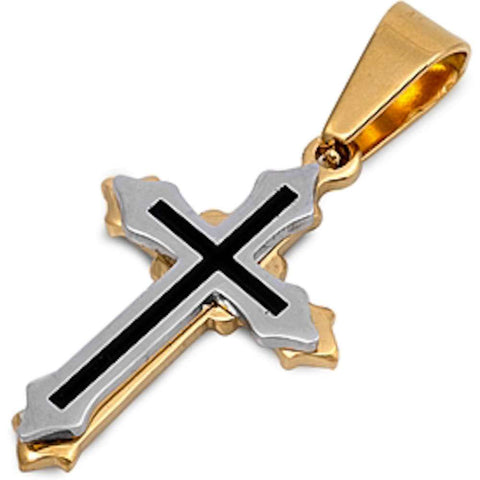 3 Tone Cross Stainless Steel Pendant