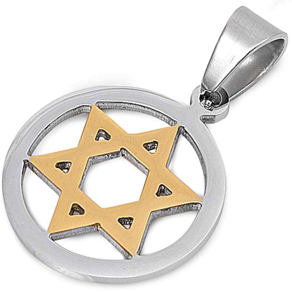 Two Tone Star of David  Stainless Steel Pendant