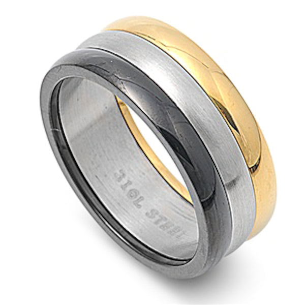 Tri-Colored Band Stainless Steel Ring Size 6-13