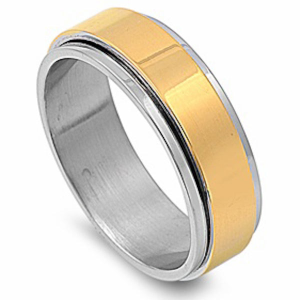 Yellow Plated With Step Edge Design Stainless Steel Ring Size 7-14