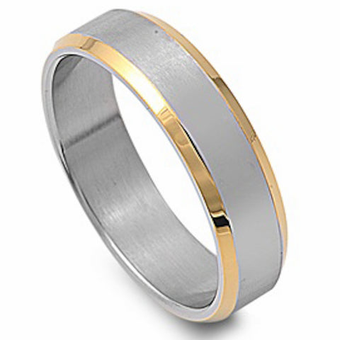 Yellow Plated Beveled Edge Design Stainless Steel Ring Size 6-13