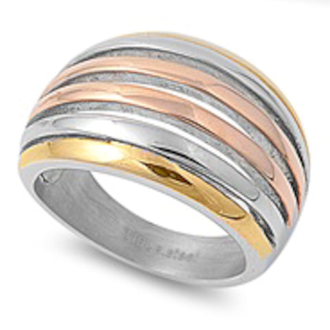 Yellow And Rose Gold Plated Dome Design Stainless Steel Ring Size 6-10