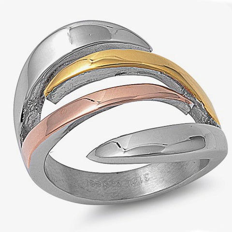 Yellow And Rose gold Plated Abstract Design Stainless Steel Ring Size 6-10