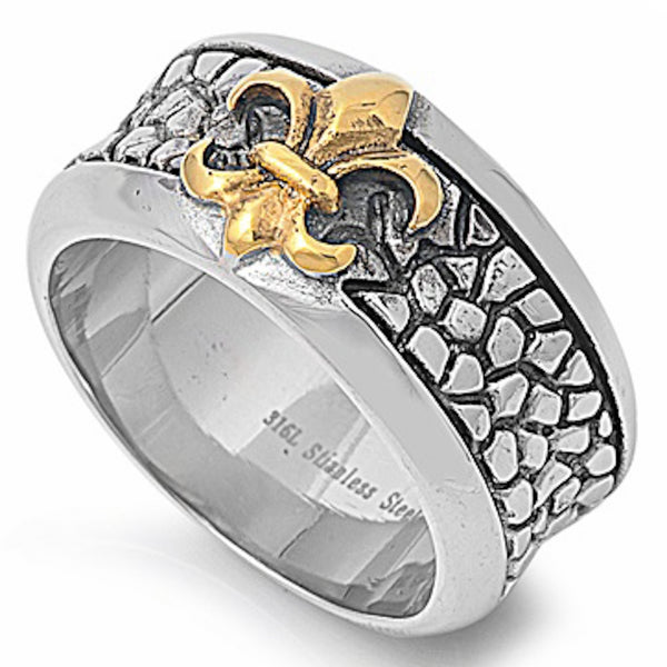 Yellow Plated Royal Symbol Stainless Steel Ring Size 8-14