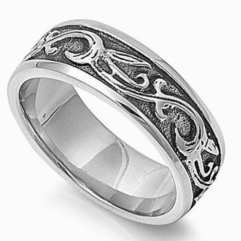 Vine Pattern Stainless Steel Ring Size 8-14