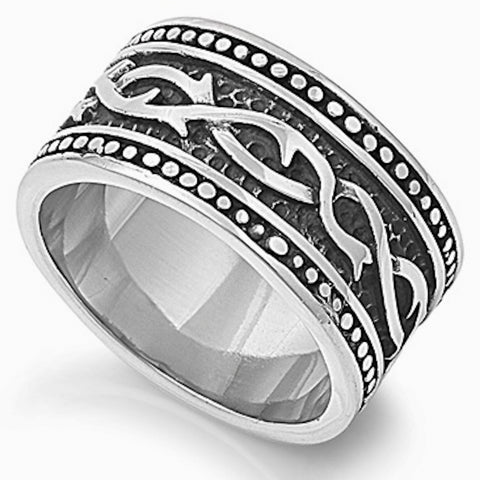 Vintage Vine Design Stainless Steel Ring Size 8-14