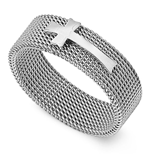 Stainless Steel Mesh Chain Cross Band Ring