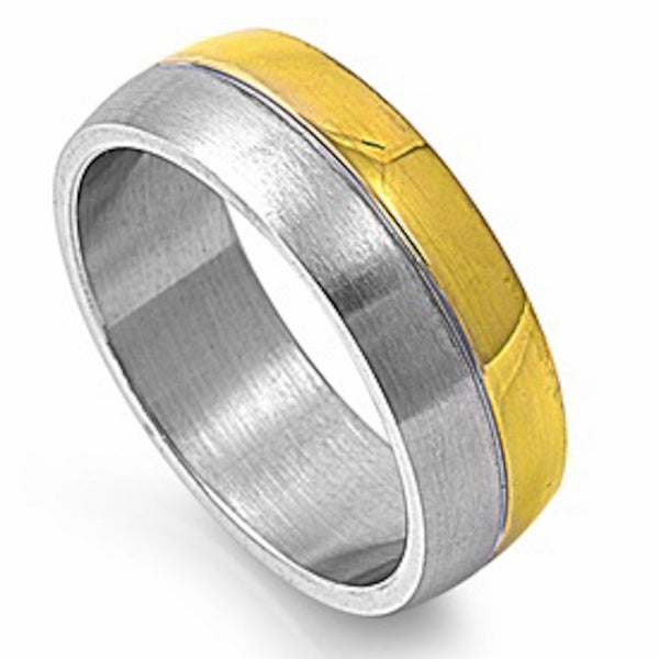 Two-Colored Plated Stainless Steel Ring Size 7-14