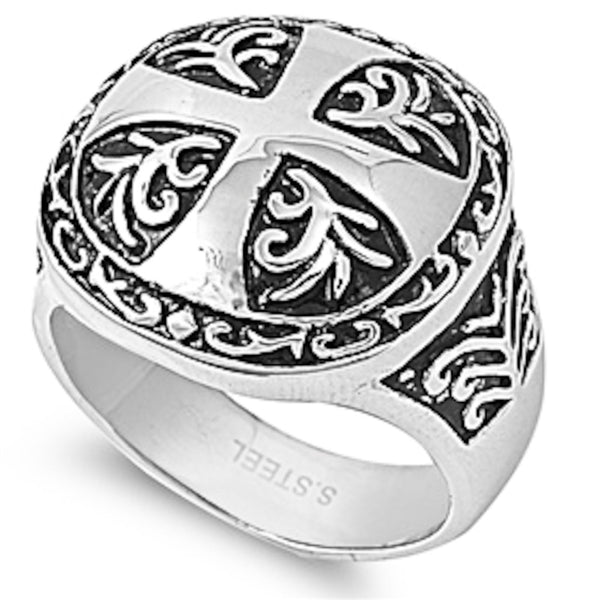 Stainless Steel Fancy Designer Large Cross Ring