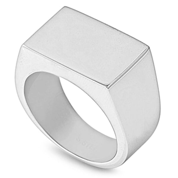 Stainless Steel Men's Signet Plain Solid Ring