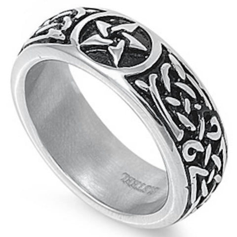 Tribal Star Design Stainless Steel Ring Sizes 7-14