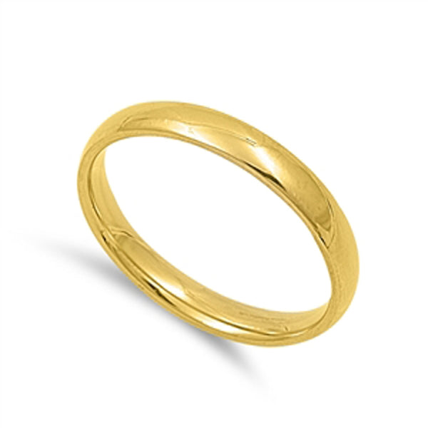 3mm Yellow Gold Plated Stainless Steel Wedding Band Sizes 4-13