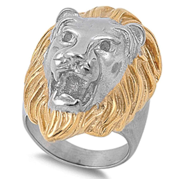 Two Tone Lion  316L Stainless Steel Ring Sizes 8-15