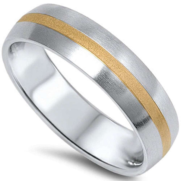 Two Tone Fashion Band Stainless Steel 316L Ring Sizes 7-14