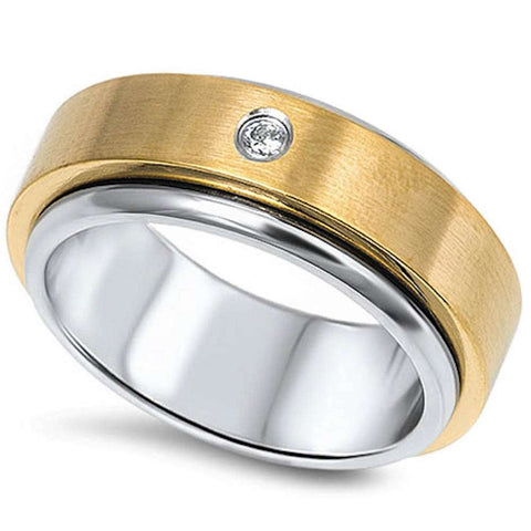 Two Tone Cz Fashion Band Stainless Steel 316L Ring Sizes 7-14