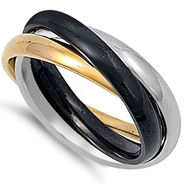 Tri Tone Bands Set Stainless Steel 316L Ring Sizes 5-12