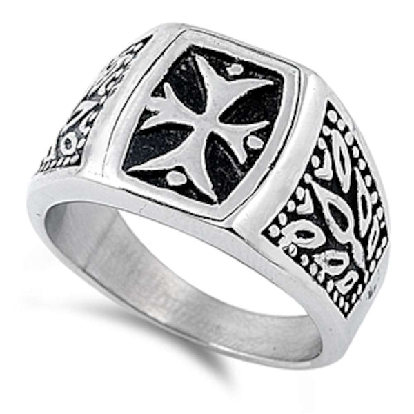 Unique Design Cross 316L Stainless Steel Ring Sizes 7-15