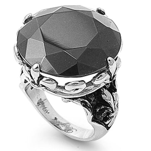 Stainless Steel Gorgeous Black Cubic Zirconia Ring Sizes 5-10