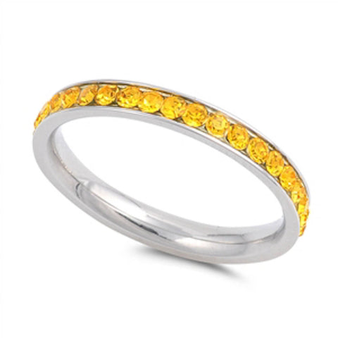Yellow Topaz Eternity Band Stainless Steel Ring Sizes 4-10