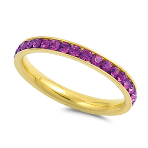Yellow Gold Amethyst Band Stainless Steel Ring Sizes 4-10