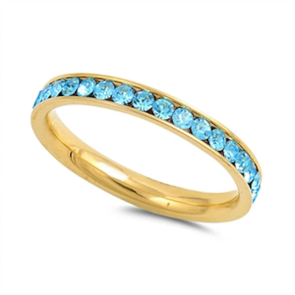 Yellow Gold Aquamarine Band Stainless Steel Ring Sizes 4-10