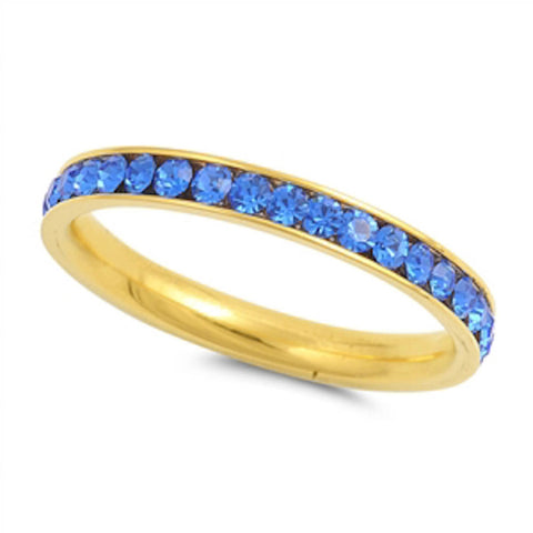 Yellow Gold Blue Sapphire Band Stainless Steel Ring Sizes 4-10