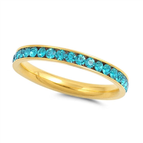 Yellow Gold Blue Topaz Band Stainless Steel Ring Sizes 4-10