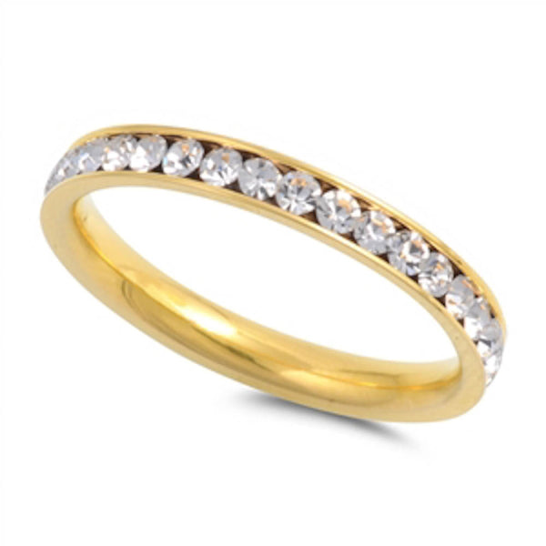 Yellow Gold Cubic Zirconia Band Stainless Steel Ring Sizes 4-10