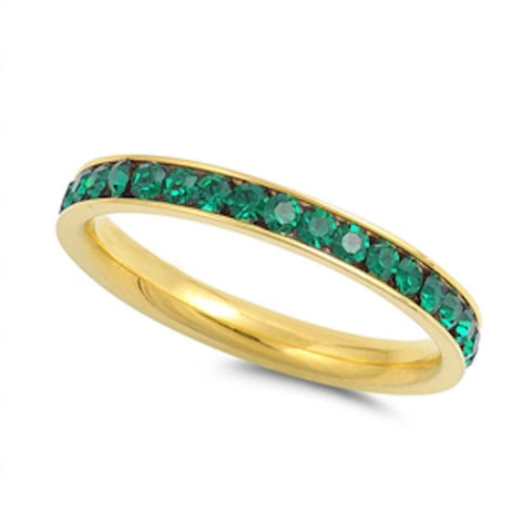 Yellow Gold Emerald Band Stainless Steel Ring Sizes 4-10