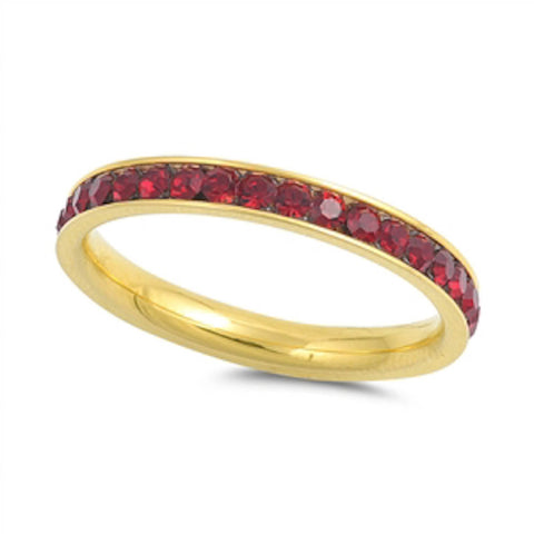 Yellow  Gold Garnet Band Stainless Steel Ring Sizes 4-10
