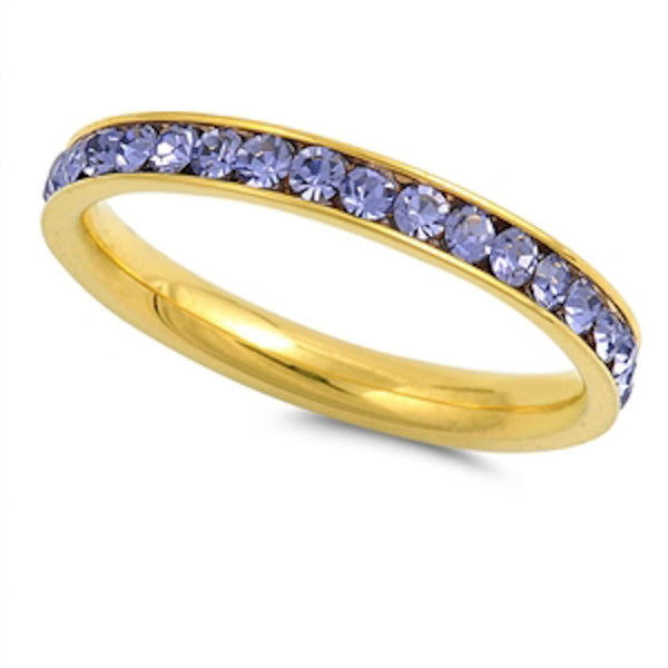 Yellow Gold Lavander Band Stainless Steel Ring Sizes 4-10