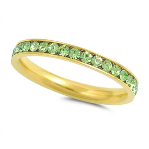 Yellow Gold Peridot Band Stainless Steel Ring Sizes 4-10