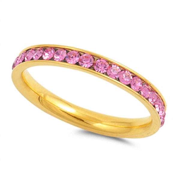 Yellow Gold Pink Band Stainless Steel Ring Sizes 4-10